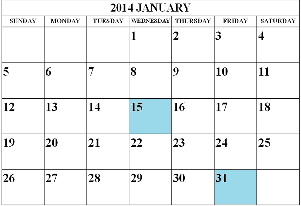 January 2014 Tax Deadlines